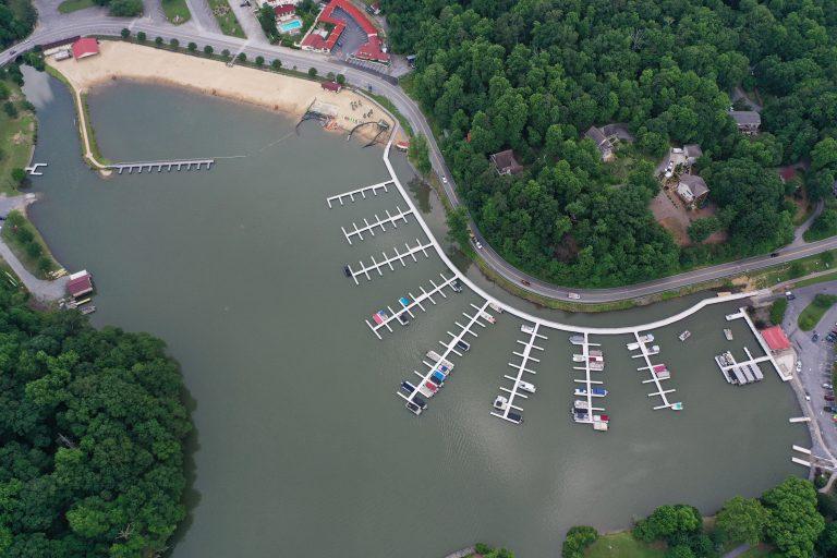 Lake Lure Marina and Boardwalk drone photo